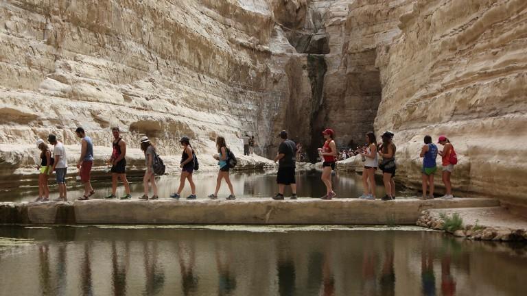 La Reserva Natural de Ein Avdat, cerca al Kibutz Sde Boker, atrae a muchos turistas. Foto de Yaakov Naumi/Flash90.