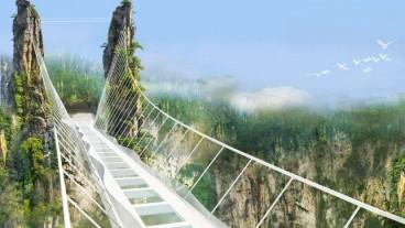 Panorámica del puente, construido en el Gran Cañón de Zhangjiajie. Foto vía HaimDotan.com.