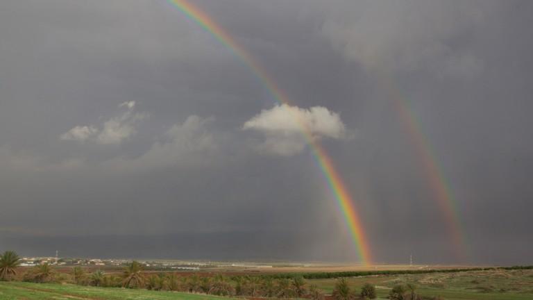 Arco iris doble sobre el Valle de Beit She'an, el 21 de noviembre de 2014. Foto de Doron Horowitz/FLASH90.