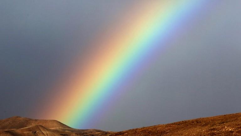 Arco iris en el Desierto de Judea. Foto de Yossi Zamir/FLASH90.