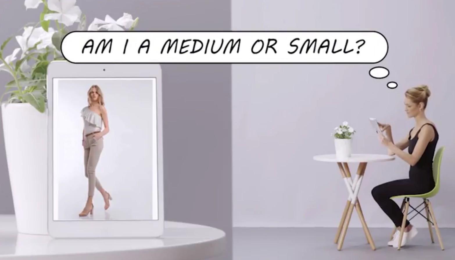 Sizer escanea el cuerpo del usuario y determina su talla exacta para la prenda de ropa que está considerando comprar. Imagen: captura de pantalla