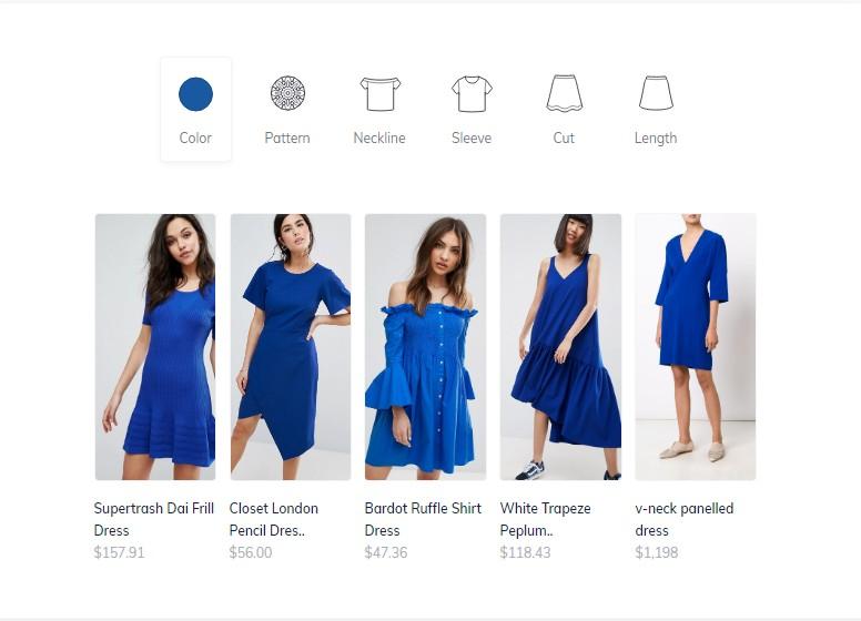 Donde Search muestra imágenes correspondientes a estilos y tipos de ropa. Imagen: captura de pantalla